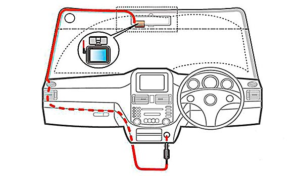 ドライブレコーダー本体とシガープラグとの配線