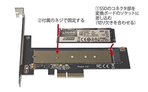 変換カードにM.2SSDを取り付けます。