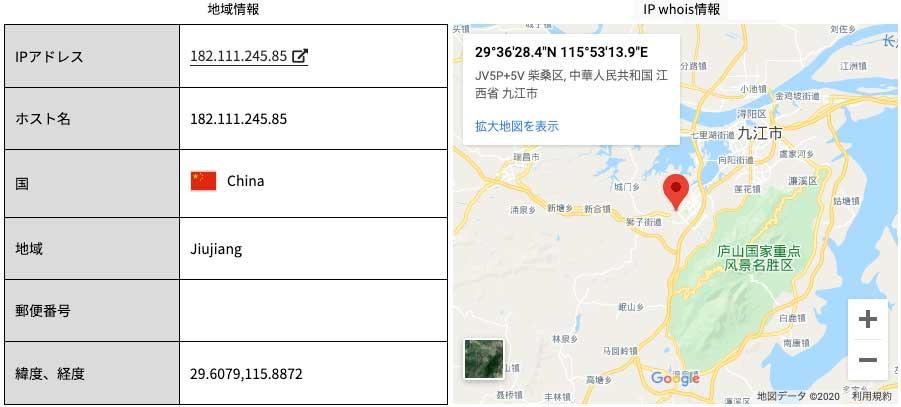 IPアドレス住所検索の結果