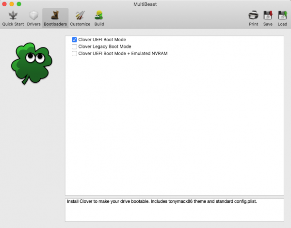 Clover UEFI Boot Modeにチェック