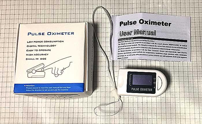 配送されてきた中国製パルスオキシメーター。
